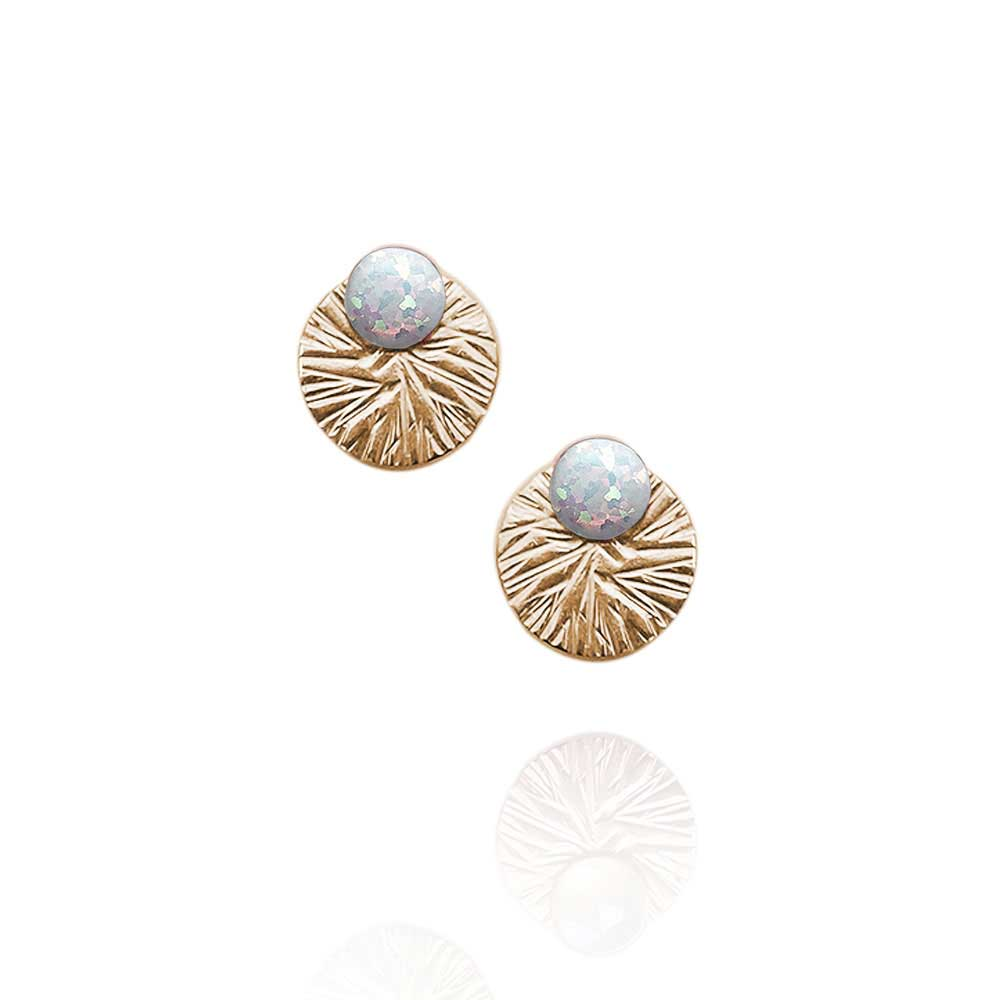 Gemstone Studs with Textured Circle Ear Jackets | Magpie Jewellery | Opal | Gold-Fill