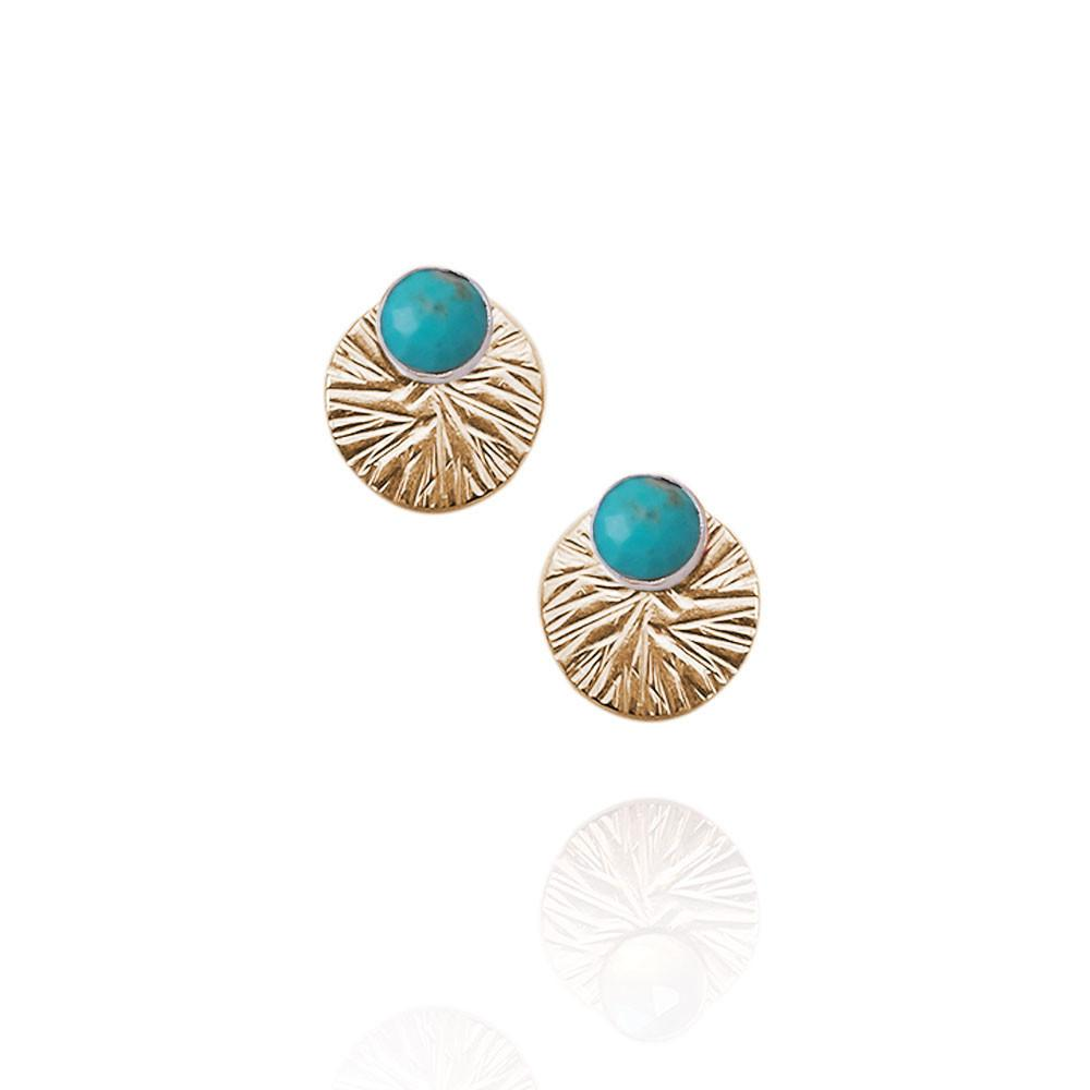 Gemstone Studs with Textured Circle Ear Jackets | Magpie Jewellery | Turquoise | Gold-Fill
