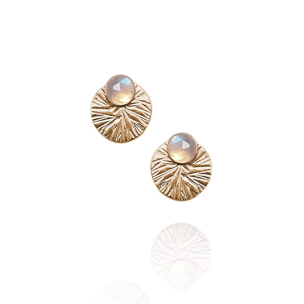 Gemstone Studs with Textured Circle Ear Jackets | Magpie Jewellery | Moonstone | Gold-Fill