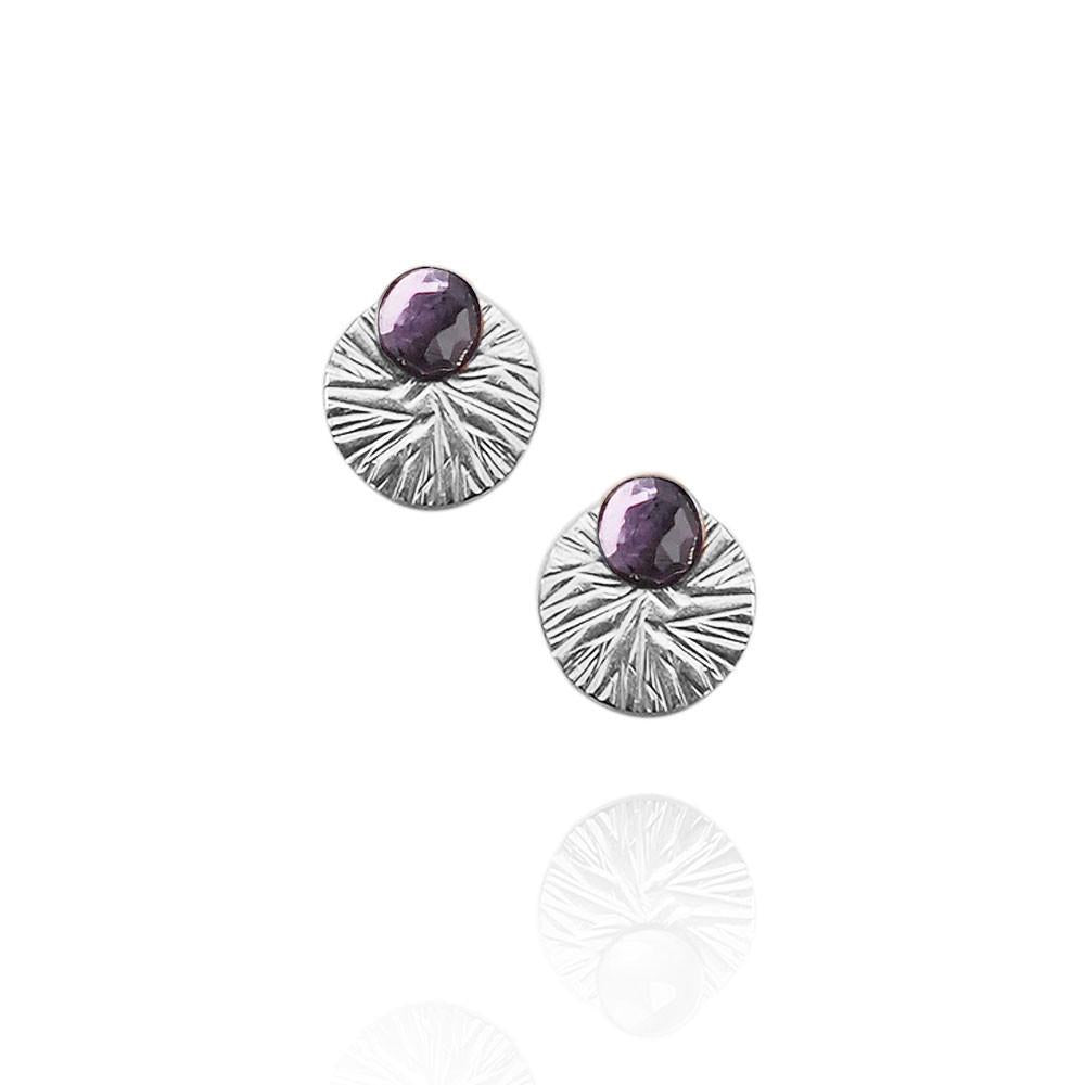 Gemstone Studs with Textured Circle Ear Jackets | Magpie Jewellery | Amethyst | Silver