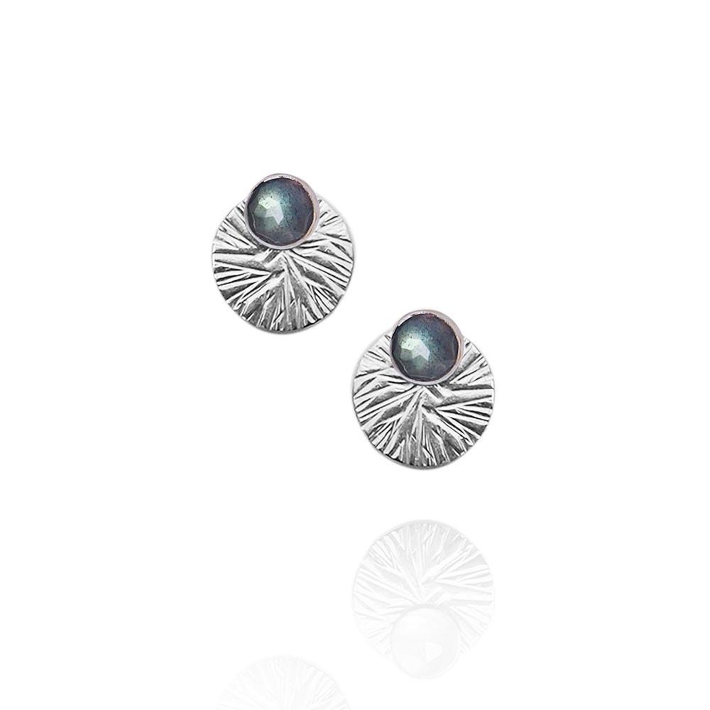 Gemstone Studs with Textured Circle Ear Jackets | Magpie Jewellery | Labradorite | Silver