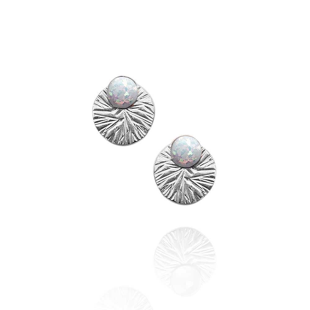 Gemstone Studs with Textured Circle Ear Jackets | Magpie Jewellery | Opal | Silver