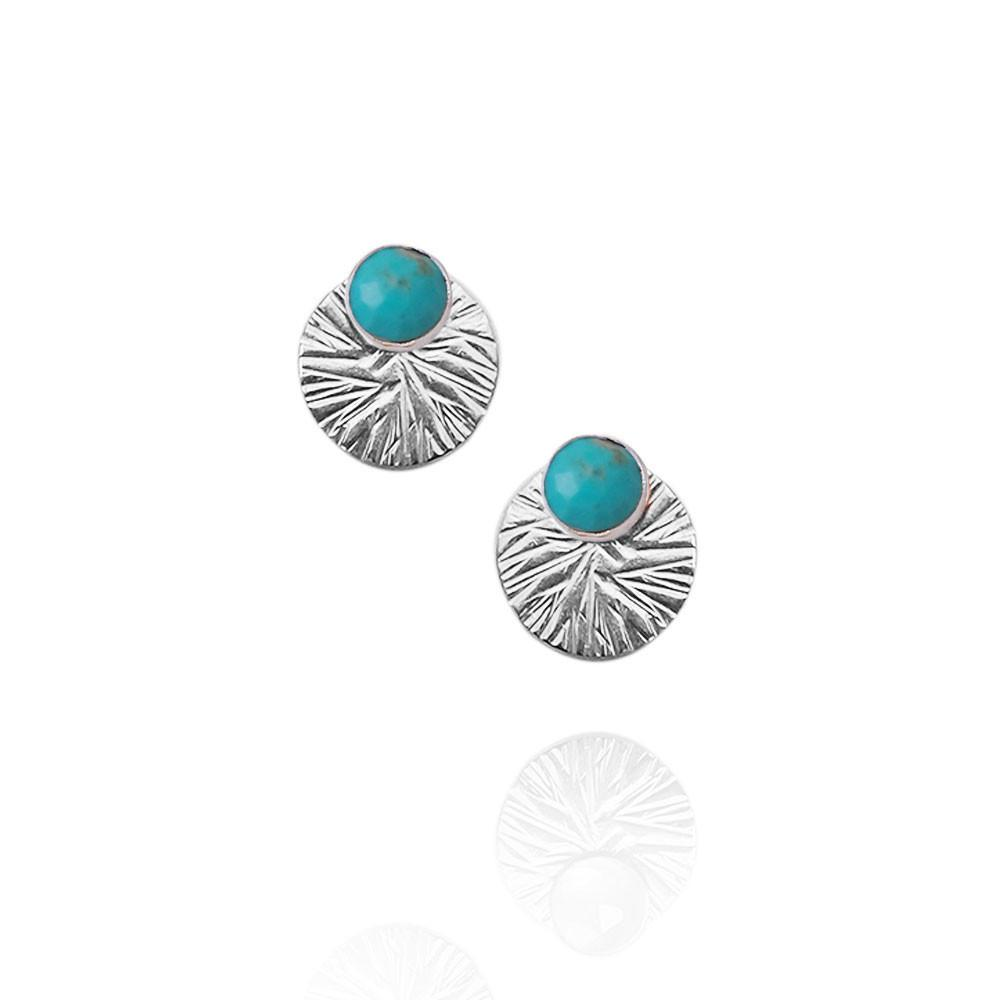 Gemstone Studs with Textured Circle Ear Jackets | Magpie Jewellery | Turquoise | Silver