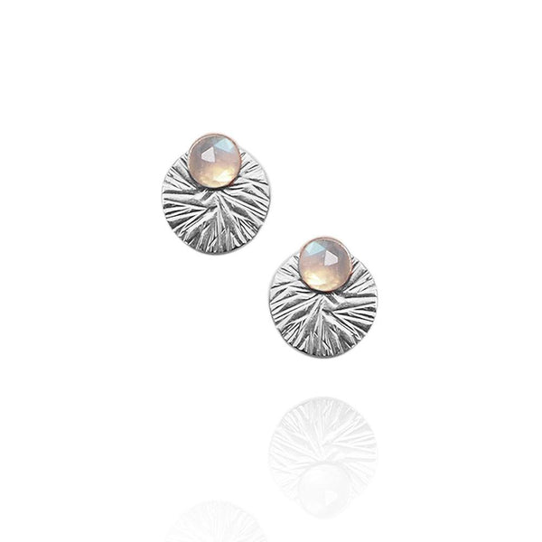 Gemstone Studs with Textured Circle Ear Jackets | Magpie Jewellery | Moonstone | Silver