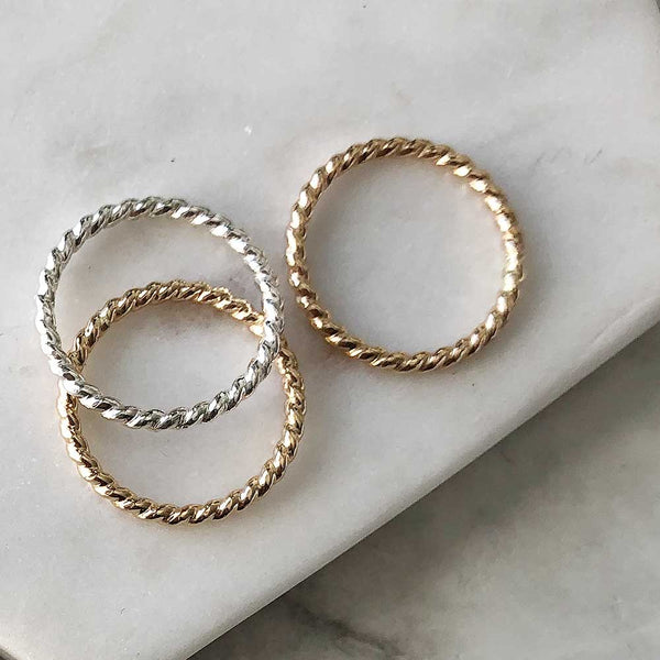Twist Stacking Ring - Sterling silver or 14k gold-fill