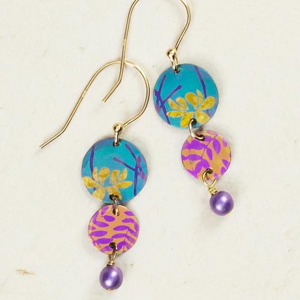 Summer Shade Earrings - Teal & Peach
