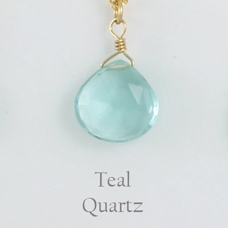 Gold Fill Gemstone Solo Necklace | Magpie Jewellery | Yellow Gold | Teal Quartz, Faceted | Labelled