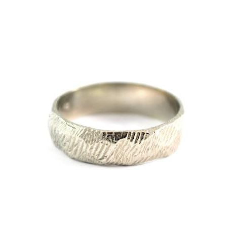 Textured White Gold Men's Band