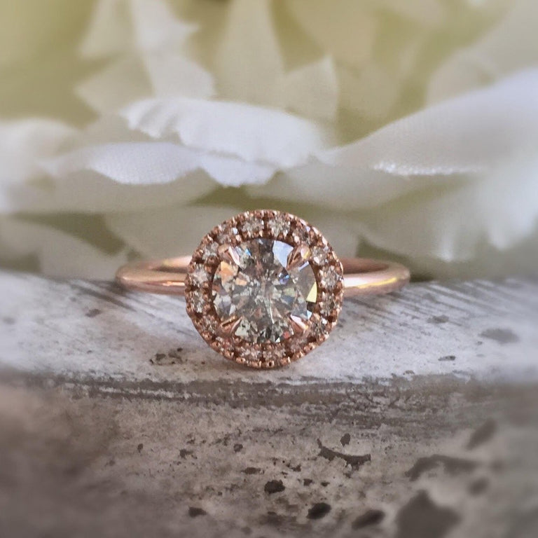 Salt and Pepper Brilliant Cut Engagement Ring | Magpie Jewellery
