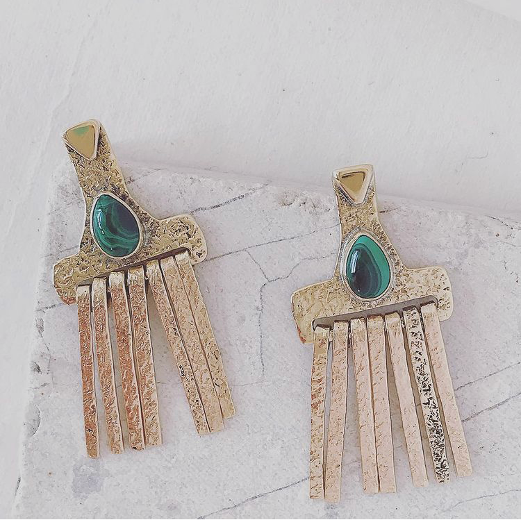 Brass 'Sweeper' Drop Earrings with Assorted Stone