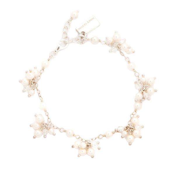 """Dot"" Freshwater Pearl &  Crystal Cluster Bracelet Silver 