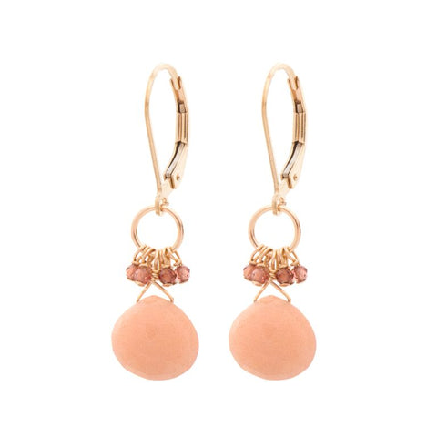 Pink Moonstone & Hessonite Garnet Cluster Gold Fill Drops