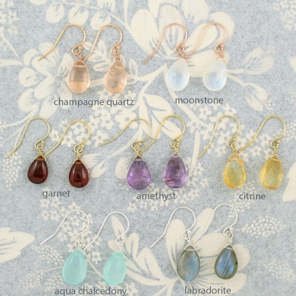Gemstone Solo Earring | Magpie Jewellery | Rose Gold | Yellow Gold | Silver | Champagne Quartz | Moonstone | Garnet | Amethyst | Citrine | Aqua Chalcedony | Labradorite | Stones Listed Left-to-Right Beginning With Top Row | Labelled