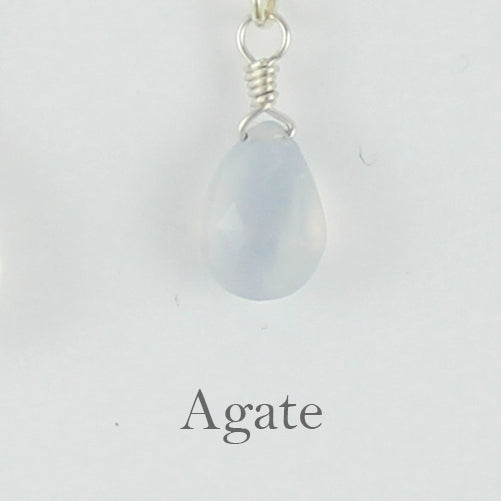 Silver Gemstone Solo Necklace | Magpie Jewellery | Agate, Faceted | Labelled
