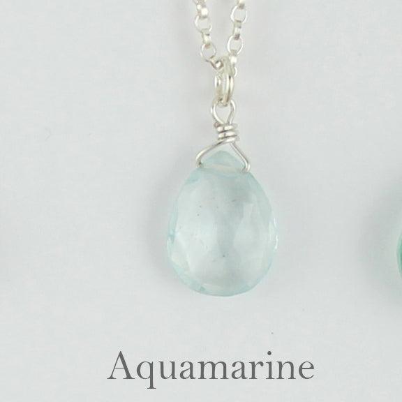 Silver Gemstone Solo Necklace | Magpie Jewellery | Aquamarine, Faceted | Labelled