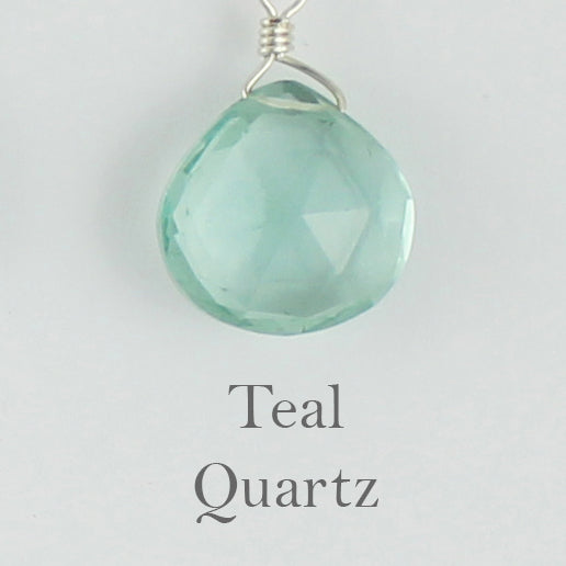 Silver Gemstone Solo Necklace | Magpie Jewellery | Teal Quartz, Faceted | Labelled
