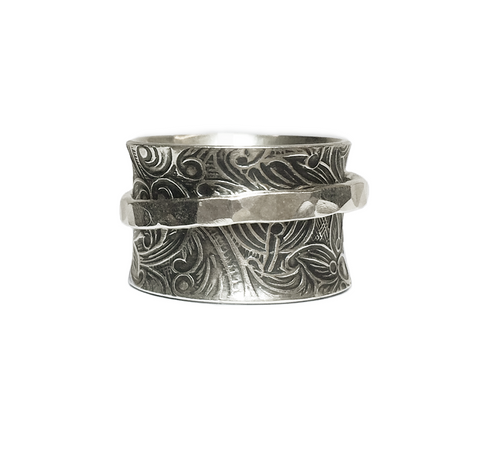 Oxidized Floral Band with Hammered Spinner