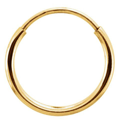 Single Nose Ring - 10mm - Yellow Gold Hoop Earring/ Nose Ring