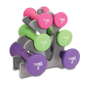 Tone Fitness® Hourglass Dumbbell Set with Plastic Rack (151597803)