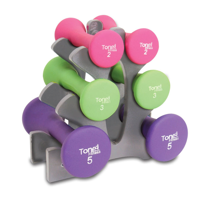 Tone Fitness® Hourglass Dumbbell Set with Plastic Rack