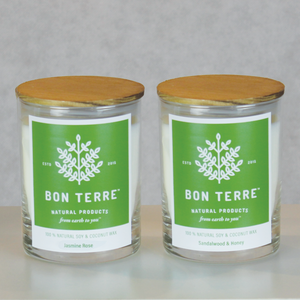 BonTerre Sandalwood Honey and Jasmine Rose Candle Set — 100% Soy and Coconut Wax Candle