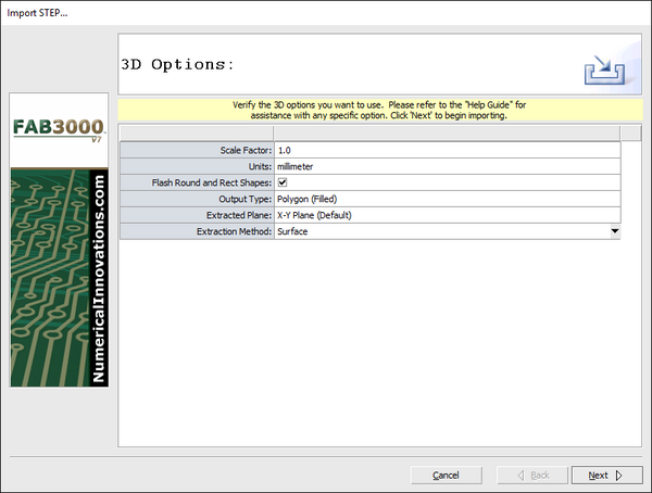 FAB 3000 STEP Import dialog