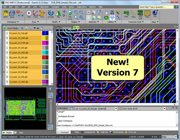 Gerber Viewing, Editing, Panelization, DRC, DFM, Compare Nets, Build Centroids, DXF, ODB++ and more.