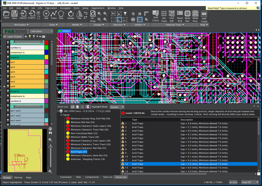 Gerber Viewer and Editor, Panelization, DRC, DFM, Compare