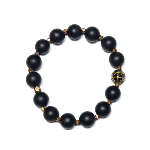 Onyx & Caged Black Diamond Bracelet