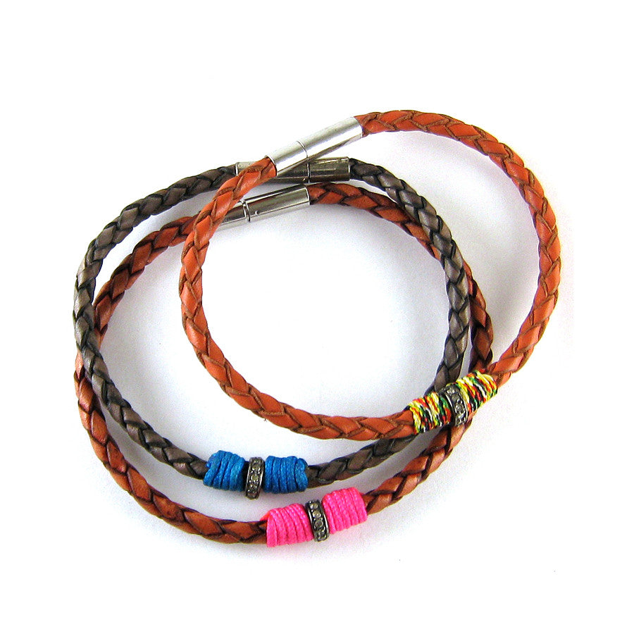 Leather and Diamond Neon Bracelet