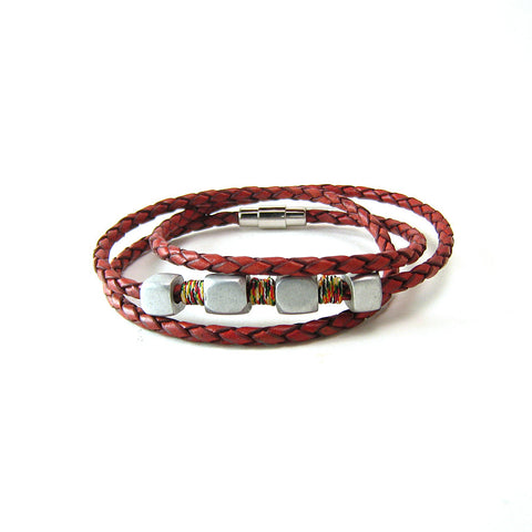 Leather and Aluminum Bead Wrap Bracelet