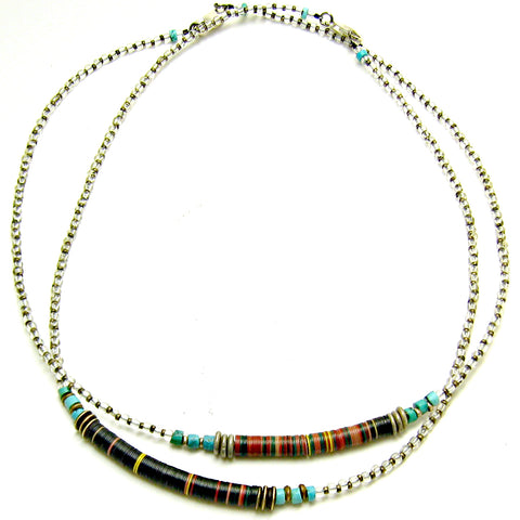 Vintage Vulcanite and Turquoise Necklace