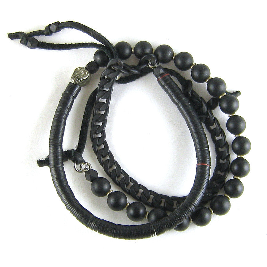 Vintage Vulcanite, Onyx and Chain Wrap Bracelet
