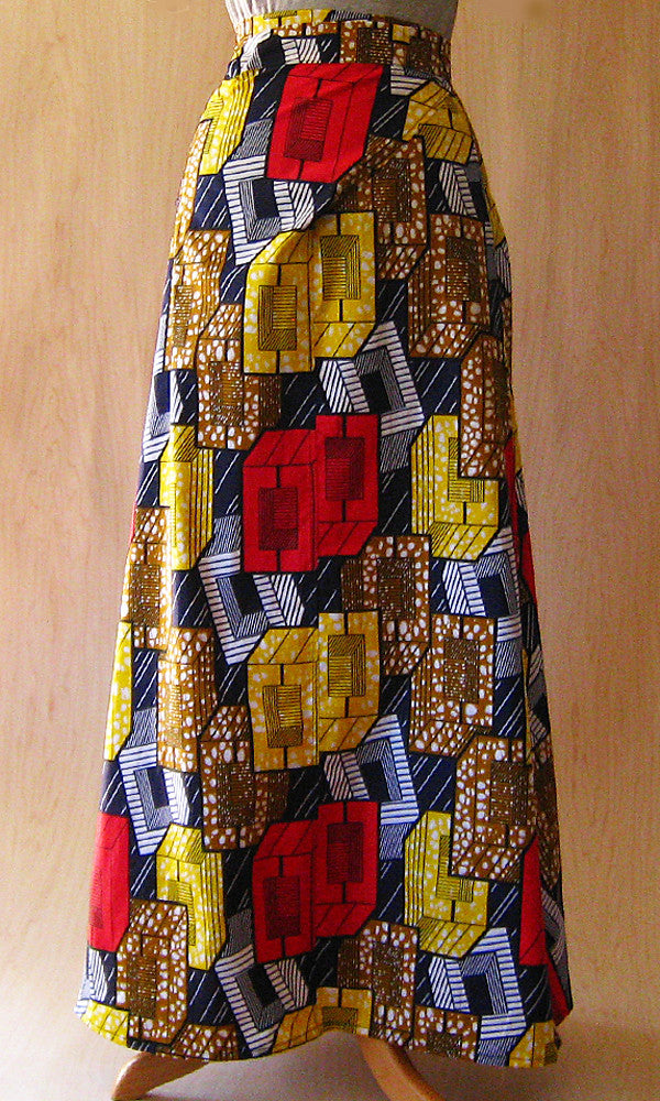 HUICHOL SKIRT: BOXES PRINT