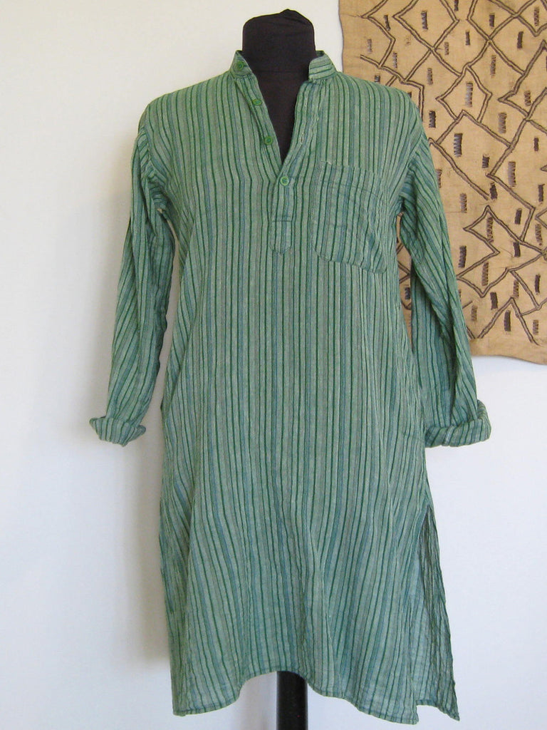New Delhi, India: Green Striped Khadi Kurta