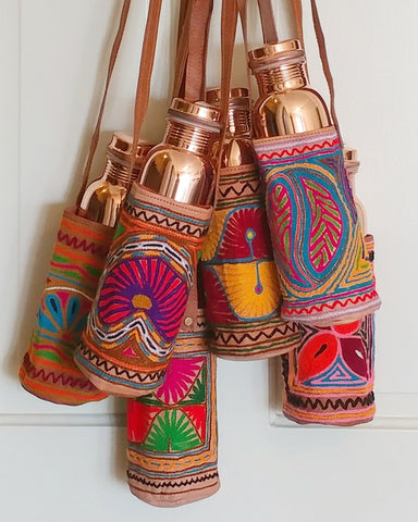 *TAMRA EMBROIDERED LEATHER BOTTLE CARRIER