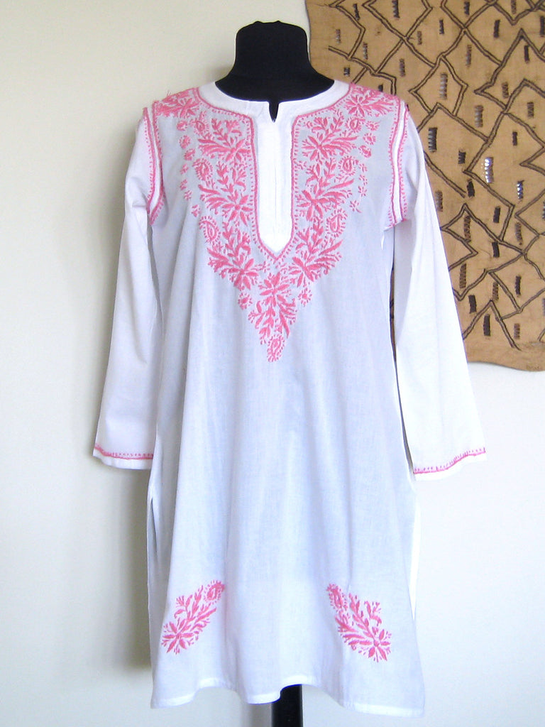 Lucknow, India: White & Pink Embroidered Kurta