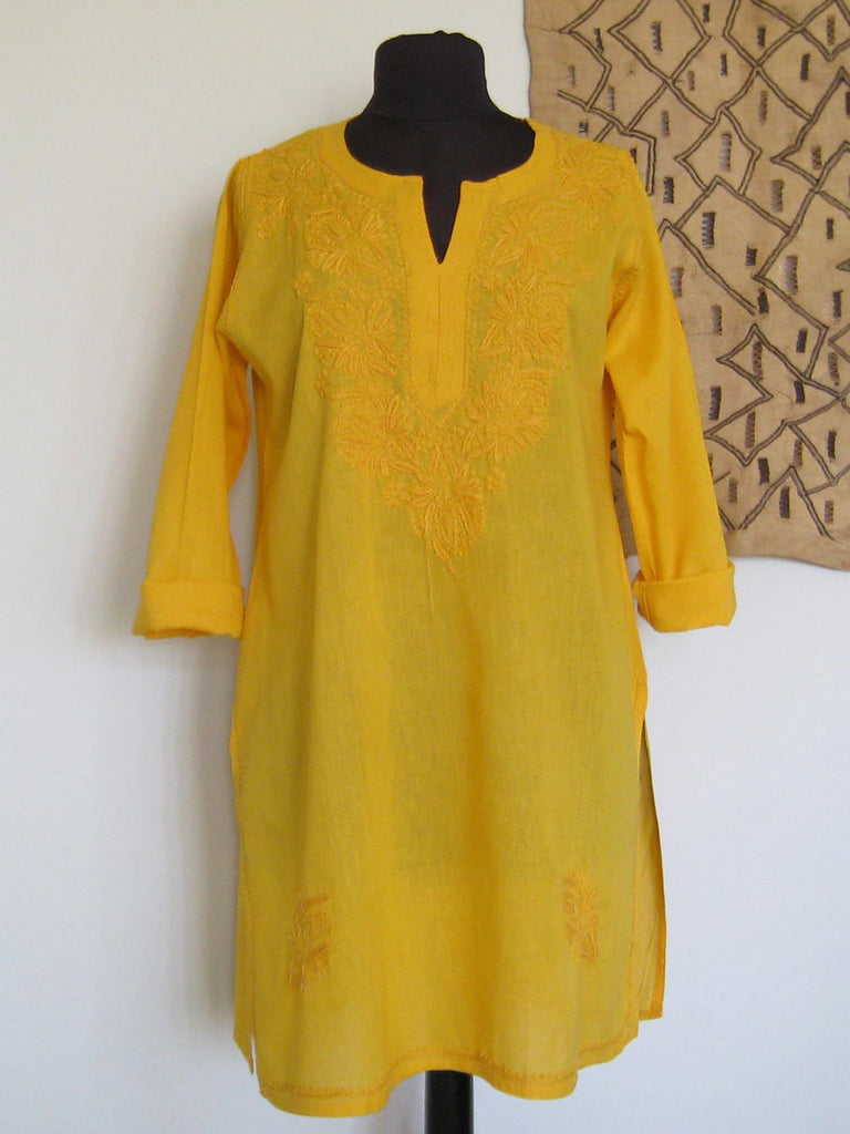 Lucknow, India: Yellow Embroidered Kurta