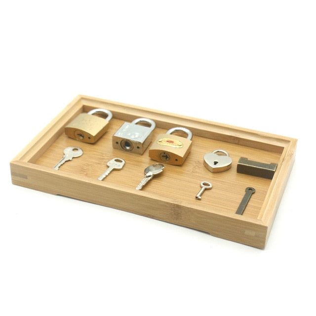 Wooden Tray Locks - Educational Sensory Toys (5 Locks) Bamboo Tray
