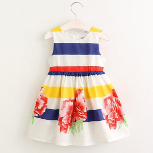 Girls Dress - Floral and Stripes (Size 3 - 7)