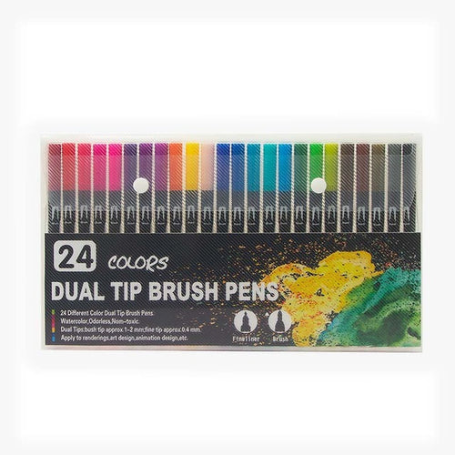 Dual Colour Brush Art Markers - Set of 24