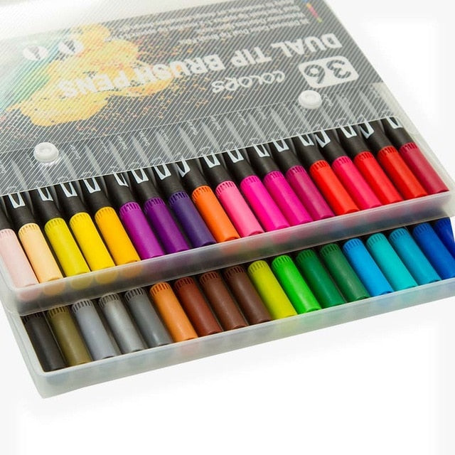 Dual Colour Brush Art Markers - Set of 36