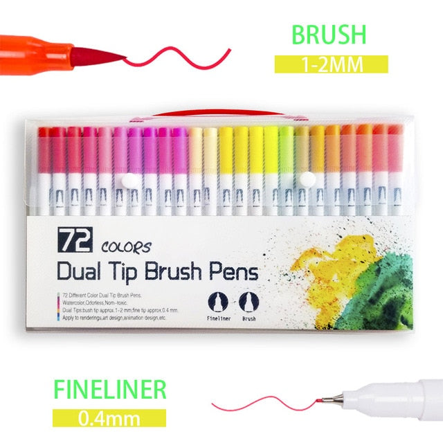 Dual Colour Brush Art Markers - 72 Colours