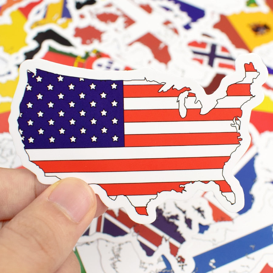 50 PCS National Flags Stickers