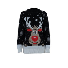 Load image into Gallery viewer, Ugly Christmas Jumper - Black reindeer Small - 4XL
