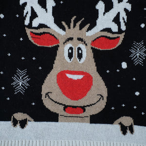 Ugly Christmas Jumper - Black reindeer Small - 4XL