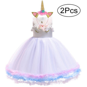 Unicorn Dress and Headband Sizes 2 - 6 - Various Colours