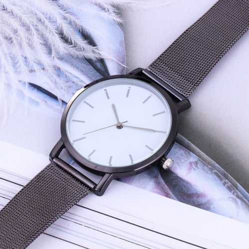 Ladies, Fashion watch - Black with a white face