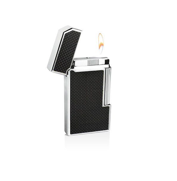 Caseti Windsor Traditional Flame Flint Lighter - Black Carbon Fiber