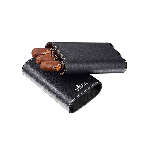 Visol Arapaho Cigar Case for Large Ring Gauge Cigars - Black